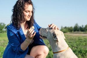 Junge attraktive Frau, die ihren Hund im Park am Sommertag füttert foto