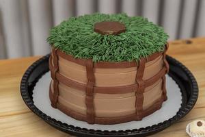 Kuchen dekoriert im Country-Thema auf einem hellen Holztisch. foto