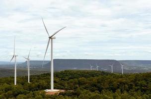 Windturbinenfeld zur Erzeugung von erneuerbarem Strom foto