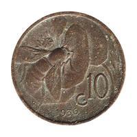 10-Cent-Münze, Italien isoliert über weiß foto