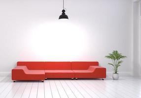 modernes Innendesign des Wohnzimmers mit rotem Sofa und Blumentopf foto