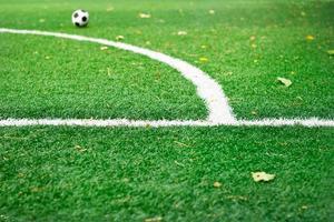 weiße Markierungslinie auf grünem Rasenfußball im Park foto