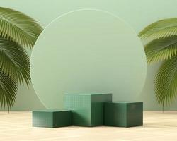 abstraktes Würfelpodium für die Produktpräsentation mit Palmblättern 3D-Rendering foto