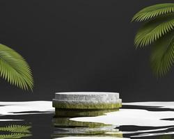 abstrakte Steinplattform-Podiumsvitrine für Produktpräsentation 3D-Rendering foto
