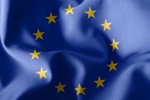 3D-Rendering Illustration Nahaufnahme Flagge der Europäischen Union foto
