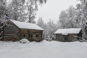 zwei alte Fachwerkhäuser in einem verschneiten Wald foto