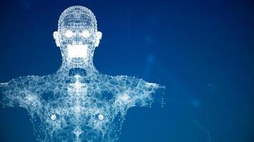 blaue Futuristik menschlicher Körper Anatomie Gesundheit Scannen Augmented Reality foto