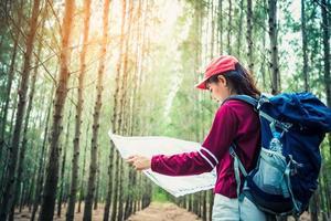 weibliche touristische Reisen in Kiefernwäldern, die während des Urlaubs wandern? foto
