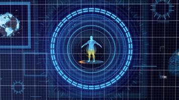 futuristische blaue hud medizin persönliche daten bildschirmgitteranzeige foto