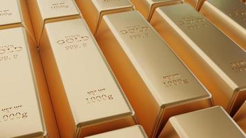 Closeup glänzende Goldbarren Anordnung in einer Reihe foto