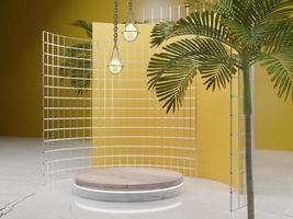gelbes Produktpodest mit Baum und Licht foto