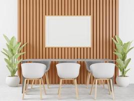 Wohnzimmer mit Tisch, Stuhl und Wandrahmen, 3D-Stil foto