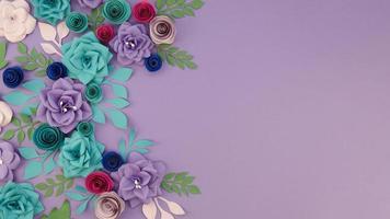 Sortiment mit Blumenrahmen auf lila Hintergrund foto