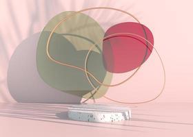 Boho-Podium mit Palmblattschatten und Pastellfarben für die Präsentation von kosmetischen Produkten. leerer schaufenstersockelhintergrund mock-up. 3D-Rendering. foto