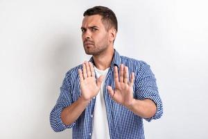 Mann, der Geste zeigt - stört mich nicht.- Bild foto