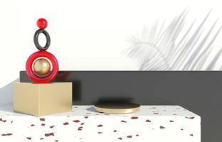 Podium mit Palmblättern auf pastellfarbenem Hintergrund. Konzeptszenen-Bühnenschaufenster für Produkt, Werbung, Verkauf, Banner, Präsentation, Kosmetik. minimaler leerer schaukasten. 3d foto