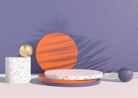 Podium mit Palmblattschatten für die Präsentation von kosmetischen Produkten. leerer schaufenstersockelhintergrund mock-up. 3D-Rendering. foto