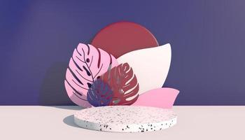 Mockup, Podium, Display mit Monstera verlässt tropischen Pflanzenhintergrund, 3D-Rendering foto