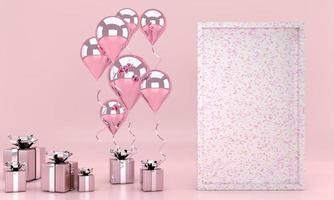 3D-Rendering-Interieur mit Luftballons, Posterrahmen, Geschenkbox im Zimmer. Leerer Platz für Party, Werbung für Social-Media-Banner, Poster. Valentinstagskarte foto