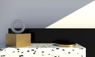 minimale Szene mit geometrischen Formen, Podeste auf cremefarbenem Hintergrund mit Schatten. Szene, um Kosmetikprodukt, Vitrine, Schaufenster, Vitrine zu zeigen. 3d foto