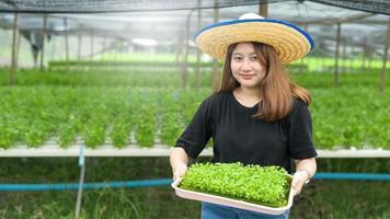Eine Bäuerin, die ein Tablett für den Anbau von Hydrokultur-Gemüsesetzlingen in einem Gewächshaus hält. foto
