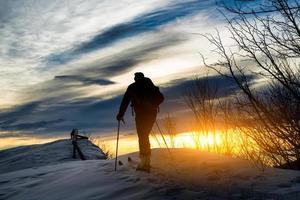Skibergsteigen Silhouette foto
