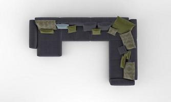 Sofa Draufsicht Möbel 3D-Rendering foto