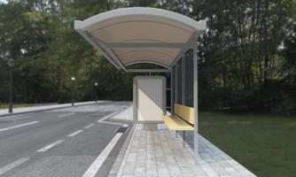 Bushaltestelle Bushaltestelle Mockup 3D-Darstellung foto