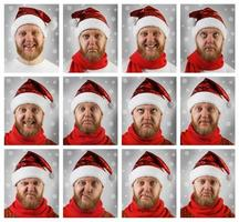 Porträt des Weihnachtsmanns mit verschiedenen Emotionen foto