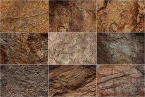 Steinoberflächen mit unterschiedlichen Texturen foto