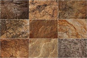 Set aus Steinoberflächen in verschiedenen Farben foto
