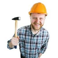 bärtiger Mann mit Hammer foto