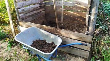 Humus. Humus im Garten reinigen. Gülle in einem Gartenwagen zum Komposthaufen transportieren. foto