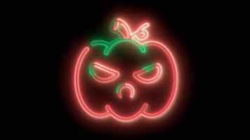 neonroter Halloween-Kürbis, Emoji, 3D-Rendering, foto