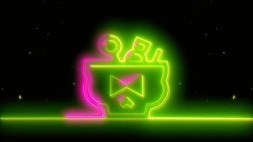 neongelb, rosa Halloween-Schädel, Emoji, 3D-Rendering, foto