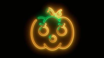 Neon-Orange, gelber Halloween-Kürbis, Emoji, 3D-Rendering, foto