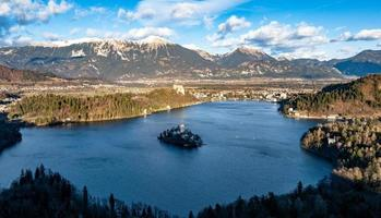 Luftaufnahme von Bleder See, Slowenien foto