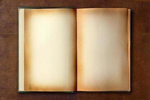 fleckiges altes Arbeitsbuch geöffnet foto