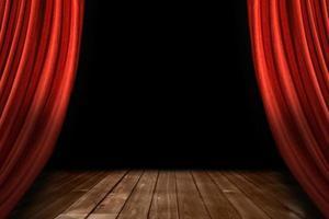 rote Bühnenvorhänge mit Holzboden foto