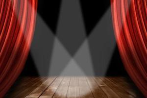 roter Theaterbühnenhintergrund mit 3 Scheinwerfern zentriert foto
