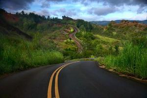 kunstvoll geschwungene Straße auf der Insel Kauai foto