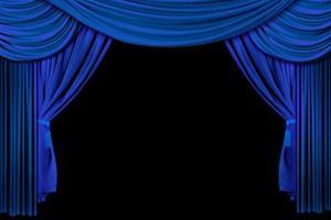 leuchtend blaue Bühnenvorhänge foto