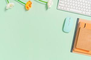 minimaler arbeitsplatz - kreatives flaches foto des arbeitsplatzes. Schreibtisch von oben mit Tastatur, Maus und Notebook auf pastellgrünem Hintergrund. Draufsicht mit Kopienraum, Flachfotografie.