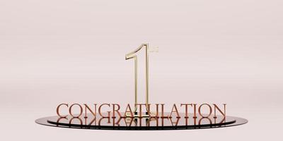 Herzlichen Glückwunsch zum 1. Platz Trophäe und Siegespodest Hintergrund foto