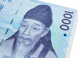 Südkorea 1000 gewann Banknotenwährung Nahaufnahme Makro, koreanisches Geld foto