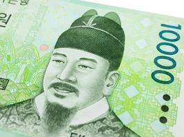 Südkorea 10000 gewann Banknotenwährung Nahaufnahme Makro, koreanisches Geld. foto