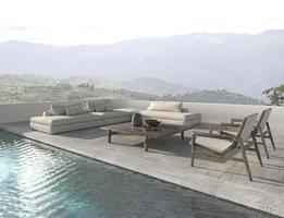 Lounge-Zone im skandinavischen Design auf dem Balkon. Sofa mit Swimmingpool und Naturansichthintergrund. Haus Außenterrasse 3D-Render-Illustration. foto