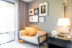 abstrakte Unschärfe und defokussierte Wohnzimmereinrichtung für den Hintergrund foto