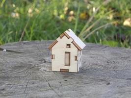 Modell eines kleinen Holzhauses im Hintergrund des Dorfes foto