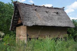 altes traditionelles Holzhaus in ländlicher Umgebung. shirakawa gehen, japan foto
